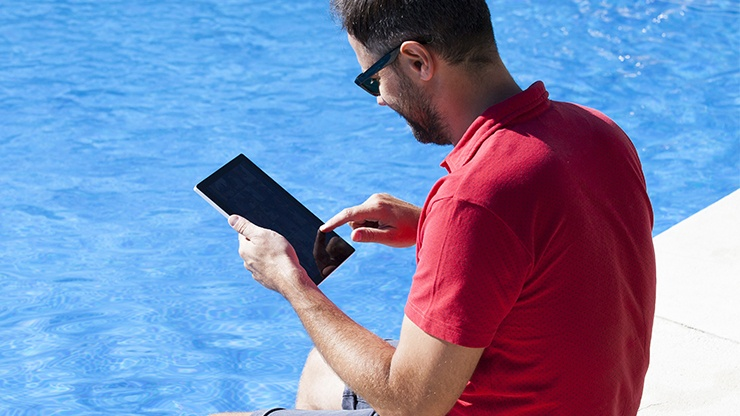 Pool and Spa Technician Adding Customer Notes for Recall and Marketing Purposes Near Louisville, Kentucky (KY)