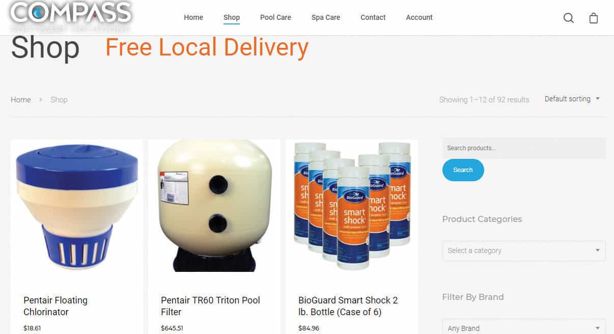 COMPASS eCommerce Website with Pool and Spa Supplies Near Louisville, Kentucky (KY)